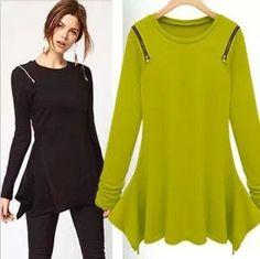 western star style ruffles irregular long sleeve plus size casual dress shirt women blouse new fashion 2013 autumn $14.97