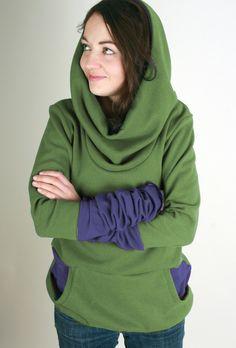 Hoodies - PIPPURI Hoody •HELLO?• - grün, blau, Stulpen - ein Designerstück von pippuri bei DaWanda