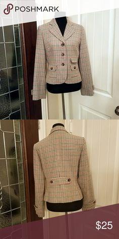 Loft Plaid Jacket Single breasted jacket in turquoise, orange and navy. Loft Jackets & Coats Blazers