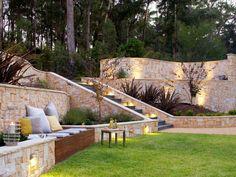 Backyard Garden Design Ideas - contemporary - Landscape - Other Metro - Space Landscape Designs Sloped Yard, Sloped Backyard, Backyard Garden Design, Backyard Seating, Backyard Designs, Backyard Ideas, Garden Paving, Hillside Landscaping, Landscaping Ideas
