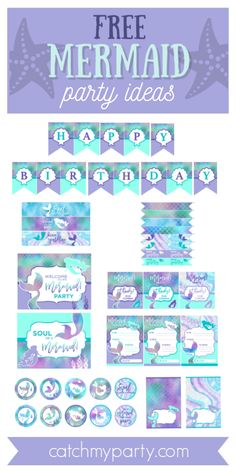 Mermaid parties are an all-time favorite theme here on CatchMyParty and a joy to decorate. To help you style your party we've got the most gorgeous FREE mermaid printables that are absolutely perfect for your under the sea celebrations. You can use them for several different types of parties, be them birthdays, baby showers, bridal showers, etc... Simple download the set by clicking on the link below, print, cut out and assemble! See more party ideas and share yours at CatchMyParty.com…