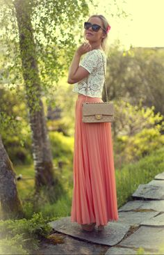 Boho- Pretty outfit. Cream lace shirt is good for the look we are going for as long as you have colored, big necklace to give some color.