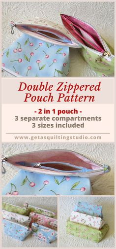Double zippered pouch pattern -an interior zippered pouch divides the inside space into three separate compartments!  via @getagrama