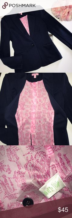 NWOT Lilly Pulitzer blazer jacket This jacket has just been sitting in my closet! There's an extra button included attached to the side tag. Split in the back still stitched together. Color is navy blue size small Lilly Pulitzer Jackets & Coats Blazers