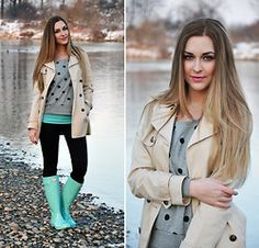 Mint green and Hunter boots