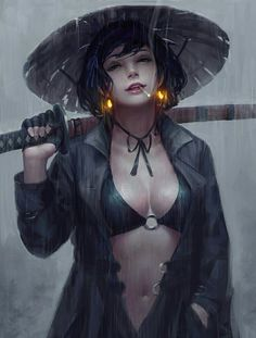Female Samurai by Emre Gierszal illuminated earrings Fantasy Women, Fantasy Girl, Geisha, Girl Pose, Ronin Samurai, Anime Kunst, Fantasy Warrior, Fantasy Samurai, Final Fantasy