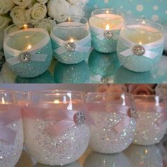 36 best stunning diy wedding with elegant candle centerpieces Glitter Candle Holders, Glitter Candles, Glitter Wine, Diy Candles, Shower Centerpieces, Candle Centerpieces, Wedding Centerpieces, Wedding Decorations, Mason Jar Crafts