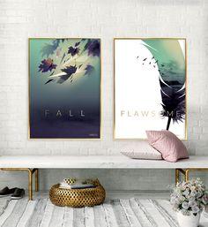 Plakater i efterårets farver (Grøn, Lilla og Guld)