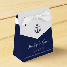 Navy Blue Nautical Wedding Favor Boxes Tent