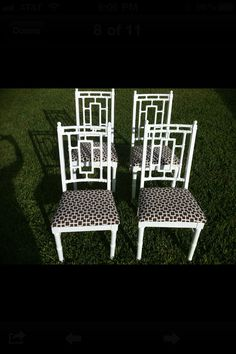Dining Room...vintage faux bamboo Chinese chippendale chairs