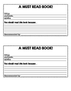 Book recommendation cards | 4th grade- Language Arts | Pinterest ...