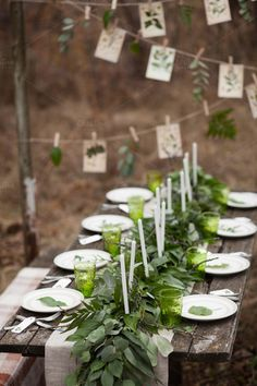 Rustic wedding reception long rectangular table with faux burlap runner and eucalyptus garland centerpieces Rustic Light Fixtures, Rustic Lighting, Rustic Decor, Rustic Table, Vintage Table, Rustic Wedding Reception, Wedding Ceremony, Spring Wedding Flowers, Wedding Colors