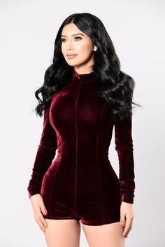 - Available in Black and Burgundy - Velvet - Romper - Long Sleeve - 95% Polyester 5% Spandex