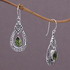 Peridot dangle earrings, 'Drop of Green' - Peridot and Sterling Silver Dangle Earrings from Indonesia (image 2b)
