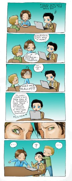 aww so adorable, keep him far away from the internet.....I have been traumatized by a few of this slash fics