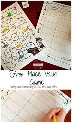 FREE Pirate Place Value Game - this is such a fun, cool math games for kids to practice adding and subtracting ones, tens, hundreds, and thousands to get better at mental math in first grade, 2nd grade, 3rd grade, and 4th grade. Perfect for classrooms, math centers, homework help, homeschool, and more.