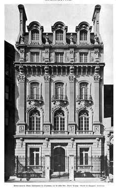 Edith Shepard Fabbri Mansion, 11 East Street, between Fifth and Madison Aves, NYC, circa Given to her as a wedding gift by her mother Margaret Vanderbilt Shepard. Vintage Architecture, Classic Architecture, New York Street, New York City, Cornelius Vanderbilt, American Mansions, Old Mansions, Second Empire, Vintage New York