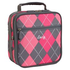 Personalized argyle lunchbox - long live preppy!