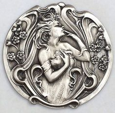 Brushed-Sterling-Silver-Overlay-On-Stamped-Brass-ART-NOUVEAU-Button-2-1-8