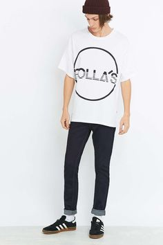Rollas White Big Stripe Logo Tee - Urban Outfitters
