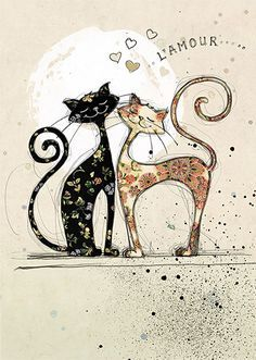 Two Lovecats - by Jane Crowther for Bug Art greeting cards.