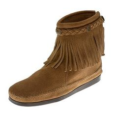 c6f42a071e71 Minnetonka Moccasins 297T - Women s High Top Fringe Boot - Taupe Suede Old  Friend Slippers