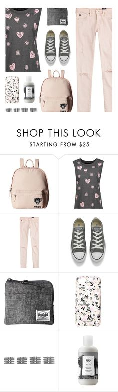 """""""Grey and Pink"""" by deepwinter ❤ liked on Polyvore featuring Vans, Markus Lupfer, AG Adriano Goldschmied, Converse, Herschel Supply Co., Kate Spade, Maison Margiela and R+Co"""