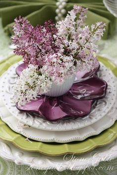 shades of green, the lilac gives the table a splash of color