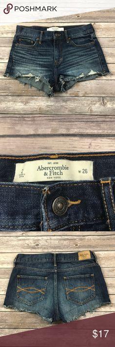 Abercrombie Fitch Cut-Off Denim Shorts Size 26 Abercrombie Fitch Cut-Off Denim Shorts Distressed Dark wash Size 26 Booty shorts Abercrombie & Fitch Shorts Jean Shorts