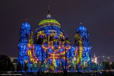 Artist: Young Zhao. The #FestivalOfLights has invited ten #designers, #creatives and #artists to design the facade of the #BerlinCathedral under the motto #ColoursOfJoy.   #BerlinerDom #Berlin #Colours #Light
