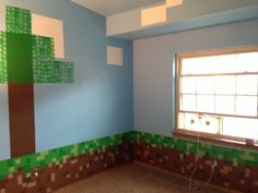 Minecraft Room 22 step by step room guide on their sons minecraft themed room:)
