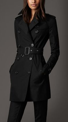 One Day - Mid-Length Cotton Gabardine Trench Coat | Burberry Black