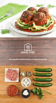 Don't let this lightened up version of a classic fool you. These mozzarella-stuffed turkey meatballs are full of flavor, and melty mozzarella cheese, to satisfy your taste buds. Serving these meatballs in marinara with zoodles (zucchini noodles) makes this fresh dish fun to eat and fun to say.