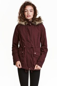 Pile-lined parka: Lightly padded parka in cotton twill with a pile-lined hood with a detachable faux fur trim, a zip and wind flap with press-studs down the front and a drawstring at the waist and hem. Flap front pockets with a press-stud, elastication and a tab and press-stud at the cuffs and a single back vent. Pile lining.