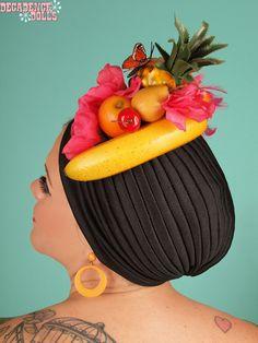 Black tropical Carmen Miranda Fruit Hat by MyTuttiFruttiHat