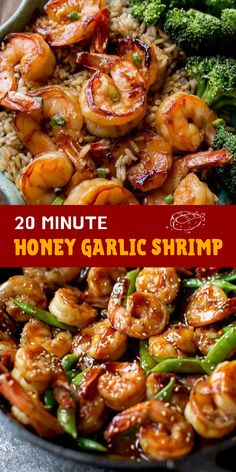 & Healthy Dinner: 20 Minute Honey Garlic Shrimp - This honey garlic shrimp is one of the most popular recipes on my website. Serve with brown rice an -Quick & Healthy Dinner: 20 Minute Honey Garlic Shrimp - This honey garlic shrimp is one of. Healthy Rice Recipes, Shrimp And Rice Recipes, Brown Rice Recipes, Grilled Shrimp Recipes, Shrimp Recipes For Dinner, Seafood Recipes, Grilled Shrimp Marinade, Chinese Shrimp Recipes, Frozen Shrimp Recipes