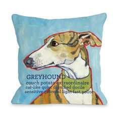 Greyhound Pillow Blue now featured on Fab.