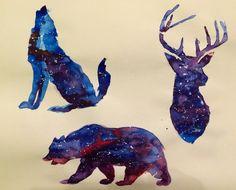 Watercolor Galaxy animals by Gordon Lipari. www.gordonlipari.com #watercolor…