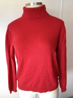 GRIFFEN Women's Turtleneck Cashmere Sweater Red Pullover Long Sleeves XL EUC #Griffen #TurtleneckMock #CashmereSweater #Cashmere #Sweater
