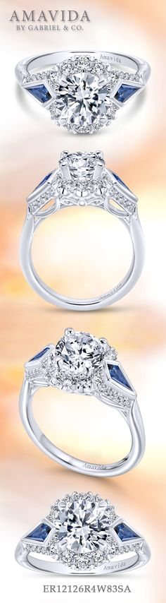 Amavida by Gabriel & Co. - Voted #1 Most Preferred Bridal Brand.   Two sapphires accenting a beautiful halo center stone, creating a Victorian inspired engagement ring fit for a queen.
