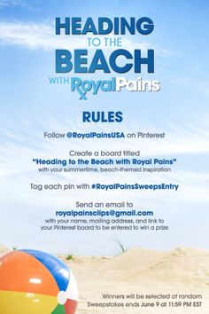 """Excited for the return of #RoyalPains next week?  Get even more inspired with our """"Heading to the Beach with Royal Pains"""" board! http://usanet.tv/RPRules1"""
