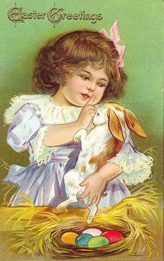 Darling postcard of a little girl shushing her bunny.   For scrapbooking, altered art, gift tags, framing, cards. Pretty!  Vintage Easter Postcard by Suzee Que, via Flickr