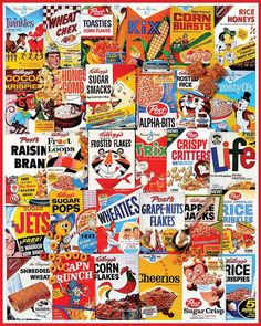 """Can you sport your favorite morning cereal brand labels in this collage? Artist: Charlie Girard. 1000 piece jigsaw puzzle - Finished size 24"""" x 30"""". Released May 2013."""