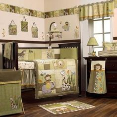 Safari Jungle Animals Green And Brown Nursery Baby Boy Crib Bedding Set