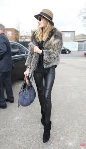 fur + leather combo