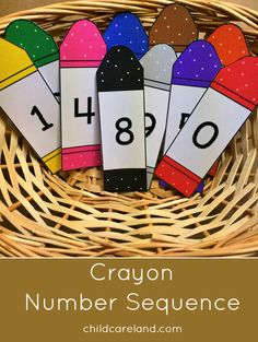 Crayon number sequence for number recognition and review..