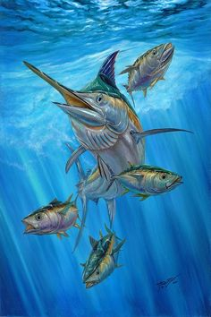 Black Marlin And Albacore Painting by Terry Fox