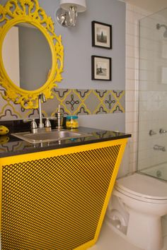 The Teen Project - eclectic - bathroom - los angeles - The Property Sisters Yellow Bathroom Decor, Small Bathroom Colors, Eclectic Bathroom, Yellow Bathrooms, Diy Bathroom Decor, Bathroom Ideas, Yellow Mirrors, Grey Interior Design, Best Bath