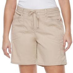 Juniors' Plus Size Unionbay Gwyneth Roll Tab Midi Shorts, Teens, Size: 22 W, Beig/Green (Beig/Khaki)