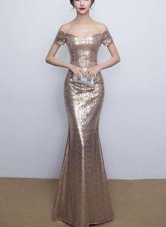 Off Shoulder Sequins Mermaid Wedding Party Dress f96003e3ae72